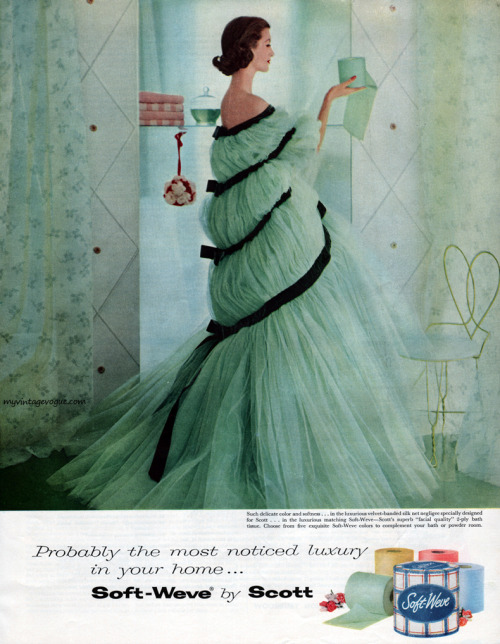This is a 60s toilet paper ad, but I truly love that dress.