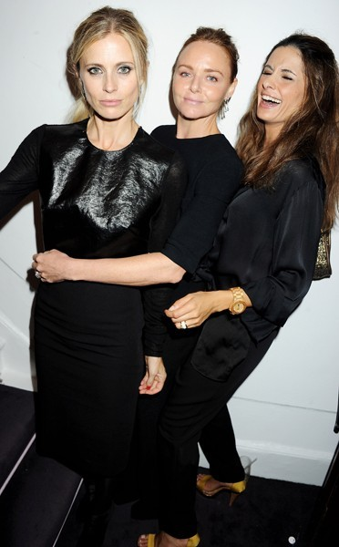 Stella McCartney, Laura Bailey and Livia Firth at the Stella McCartney store in London during FNO.
