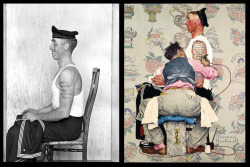 "Staged photo of Clarence Decker (left) used by Norman Rockwell for 1944′s The Tattooist. ""Clarence didn't have a single tattoo in real life. Also the last name on his arm is Betty– that's because my great, great aunt Belle told Norman that if he put her name in the painting, she wouldn't speak to him ever again. So Norman crossed the L's and added a Y."" -Ross Mosher, the great, great nephew of Clarence Decker Read more…"