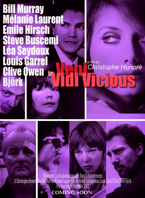 FAKE MOVIE MEME: (SHUFFLE SYNOPSIS MEME) Movie: Veni Vidi Vicious (2012) DIR: Christophe Honoré CAST: Bill Murray, Mélanie Laurent, Emile Hirsch, Björk, Steve Buscemi, Léa Seydoux, Louis Garrel and Clive Owen PLOT: Group of people who attend the same group of Narcotics Anonymous in LA will be tested to the ultimate consequences to decide for life or their vicious. Theme Music: 'My Body is a Cage' performed by Peter Gabriel