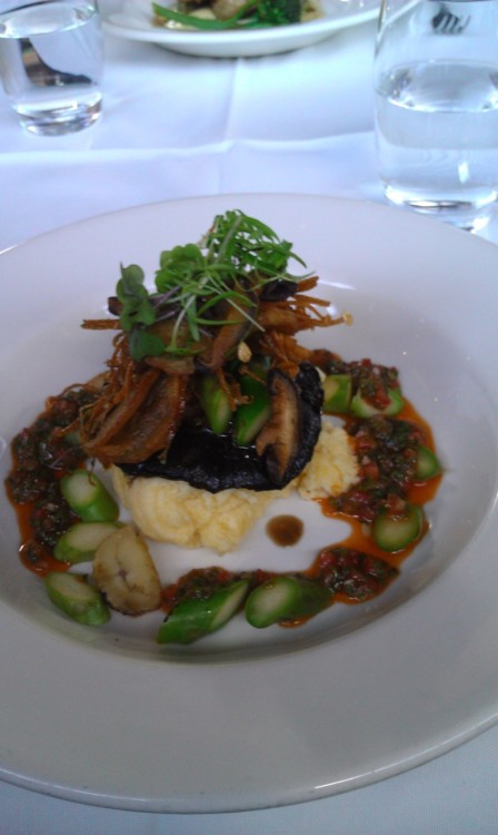 Chargrilled miso portobello mushroom, roasted chestnut, asparagus, soft polenta, tomato vinaigrette and crispy wild mushrooms.