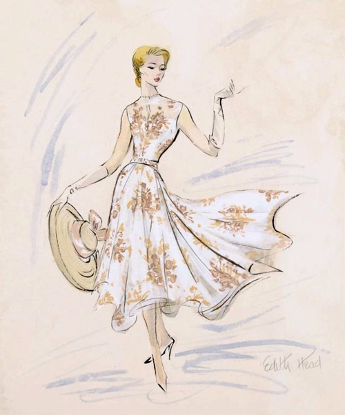 theniftyfifties:  Costume design sketch by Edith Head for Grace Kelly in 'Rear Window', 1954.