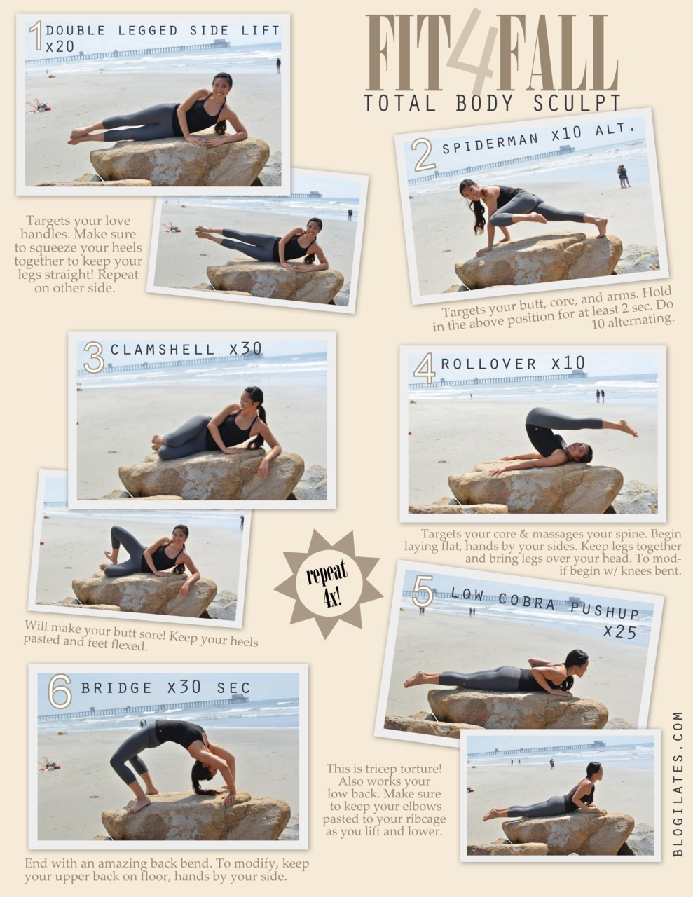 Fit 4 Fall! Total Body Sculpt Repeat this sequence 4x to really sculpt your whole body whether you're gearing up for back to school or back to work after summer. I promise that you will feel this! Targets your love handles, butt, arms, abs, legs, and back. Have fun :) What I'm wearing: Capris: Seamless Serena foldover crops by NUX USA. See them here. Top: Y-back Cami by MPG. See all of MPG here. Clothes provided by ActivewearUSA.com and were also worn in my Fashion of Fitness YouTube videos. I'm wearing a size small in both.