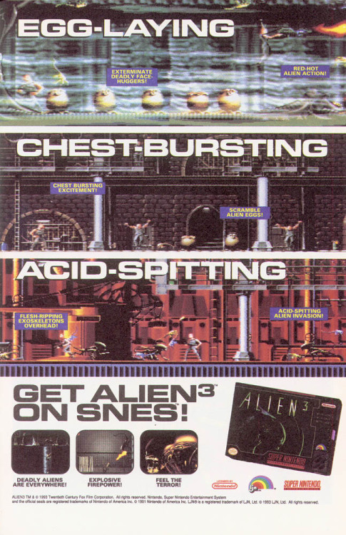 SNES Alien3 advert via xenomorphsblog: c-hainsaw