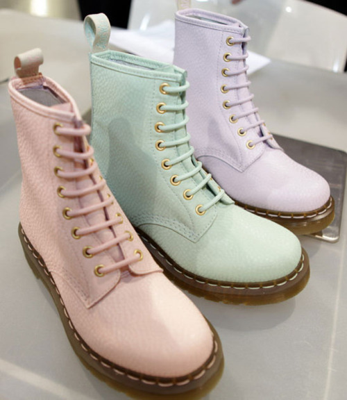 Pastel Doc Martins | Cocorosa As I've said before, my fashion tastes usually veer towards my unofficial uniform of dress, leggings, cardigan and ballet flats. But after seeing these amazing pastel Doc Martins, I feel like maybe I need to mix things up a little?! If I had to choose a pair, it would certainly be the pink ones. I love in the second picture how they've used black ties, so cute! Oh yeah, and did I also mention they have the new colours in the brogue style too? To the shoe shop!