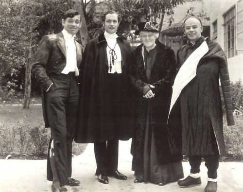 Clark Gable, Robert Montgomery, Lionel Barrymore and Paul Muni on a lunch break from 4 different films, outside the MGM commissary - 1936