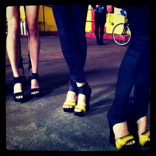 BEHIND THE CURTAIN. SPRING 2012 RUNWAY SHOW.  Spring 2012 Runway shoes. #YourNewFavoriteWedge (Taken with instagram)
