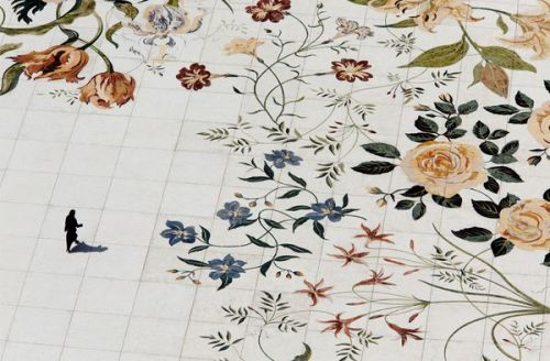 Inlaid flowers across Sheikh Zayed mosque's 183,000-square-foot marble courtyard, photograph by Dave Yoder for National Geographic.