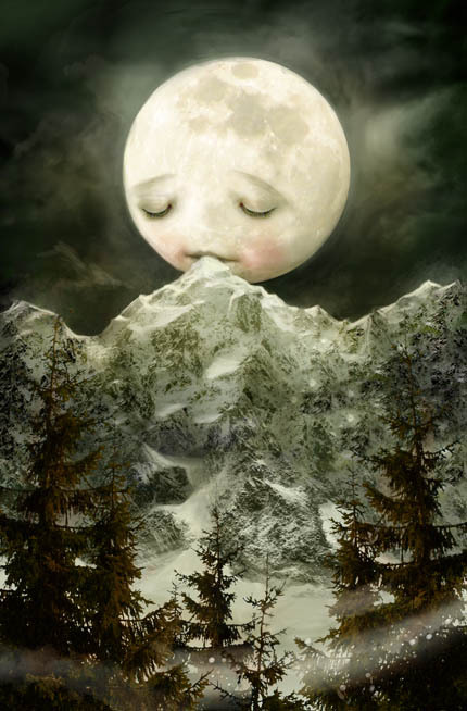 chiefpresidingofficer:  sad moon #kissing the mountain.