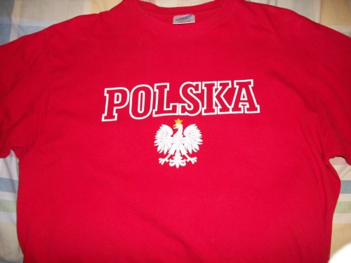 Pierogi.  Poland.   This shirt came from Poland in the summer of 2009.  I've had the opportunity to visit Poland twice, once in the winter and once in the summer.  Both of these visits were to Krakow, a city in the south of the country, and both were with the Holmes family, some of my favorite people.  The second visit was in the summer and I was there for nine weeks.  During that time I taught English in schools, university classes, and a coffeehouse.  I also worked with an international church, leading in worship and participating in Bible studies.  Most of all, I learned by living.  It was a wonderful opportunity to live life with people from all over the world, gaining new perspectives and having my heart changed.  I think one of the people I learned the most from was Charissa, a medical student from Malaysia.  This kid loves Jesus with her whole heart.  She believed that hope was found in no one else and told everyone she met about Him.    I dearly hope our paths will cross again (maybe in Malaysia!!).  This is also where my relationship with geocaching began (thanks Christian!) and I've been hooked ever since.