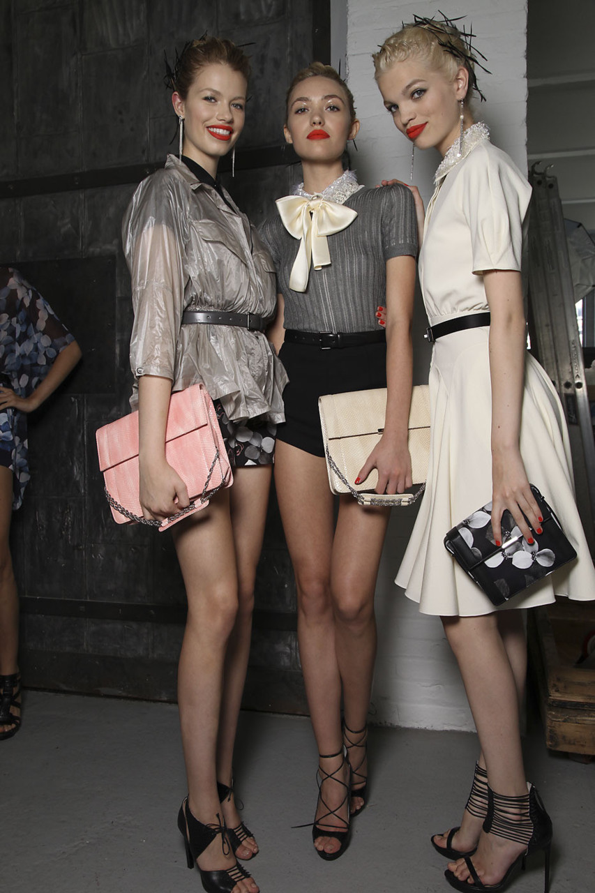 Hailey, Cora and Daphne backstage at Jason Wu S/S 2012 RTW