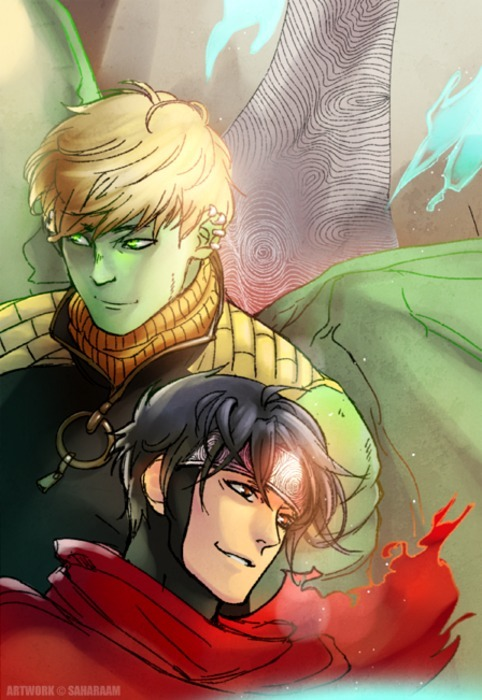 Hulkling and Wiccan by saharaam