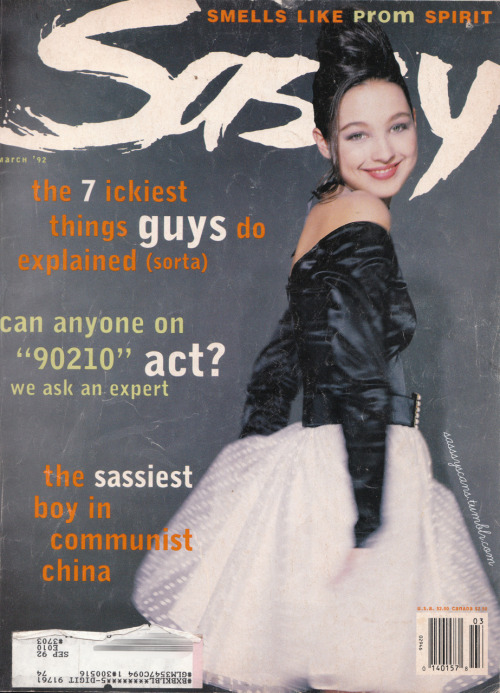 "March 1992 cover, prom-themed issue. Love this line ""Can anyone on 90210 act? We ask an expert."""