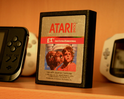 it8bit:  E.T. for the Atari 2600 - phot by Dave Nunez  I had this game actually. Obviously it sucks for any one who played it but it is without a doubt a landmark in videogame history.