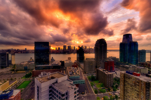 creatingaquietmind:  Jersey City, NJ looking East towards New York City (by mudpig)