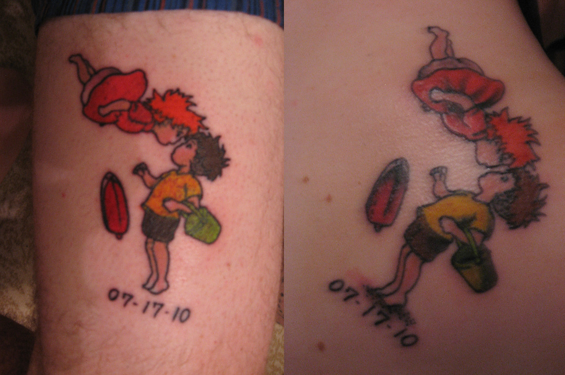 fuckyeahtattoos:  Mine and my husband's tattoos to commemorate our wedding day  and the commitment we made. It's from Ponyo, one of our favorite movies with the wedding date underneath. His is on the left, on his thigh. Mine is on the right, on my shoulder. We picked this image because the story of innocent, pure love in the movie is the kind of love we want to have in our life with one another. We got these done at Hot Stuff Tattoo in Asheville, NC.