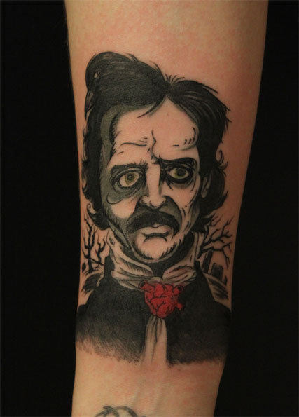 "fuckyeahtattoos:  This is my portrait of the father of horror, Edgar Allan Poe, my hero (portrait was done by David Tran, Moss Norway). I love  Mr. Poe's work, especially ""The Tell-Tale Heart"" and ""The Black Cat"". Lets be honest, Edgar was not a very handsome man, but he was a brilliant man, so I did not get his portrait printed on my skin forever 'cos of his looks. I got his portrait done 'cos, not only do I love his work, I admire him 'cos he managed to live a life which was full of pain. I used to feel sorry for myself for every little detail, but now, I know that no matter how bad things gets, I'll always survive 'cos people has been through a lot worse than I."