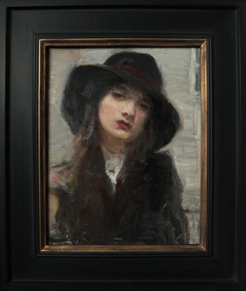 "Ron Hicks, ""Dressed In Black,"" Oil on Linen, 12"" x 12"""