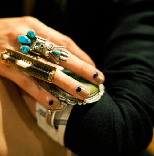 Gretchen Jones at Fashion Week Day 2 wearing a High Priestess Ring of her own design and 2 pieces from R+G: Vintage Spiderweb Turquoise and Silver Cuff + Vintage Turquoise studded Kachina Ring = RUBY + GEORGE www.rubyplusgeorge.com via gretchenjonesnyc: