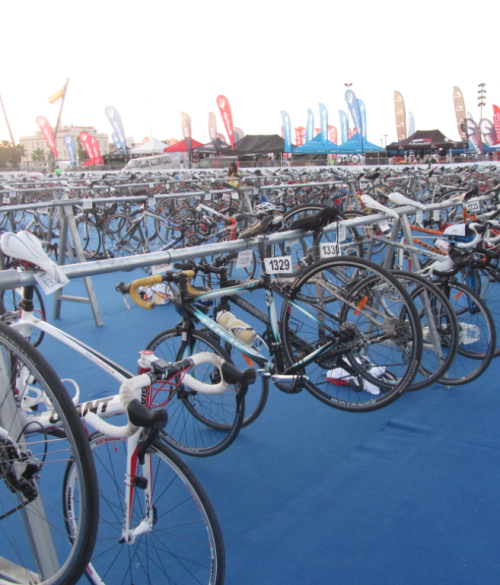 bike set at the transition area [photo taken earlier today]