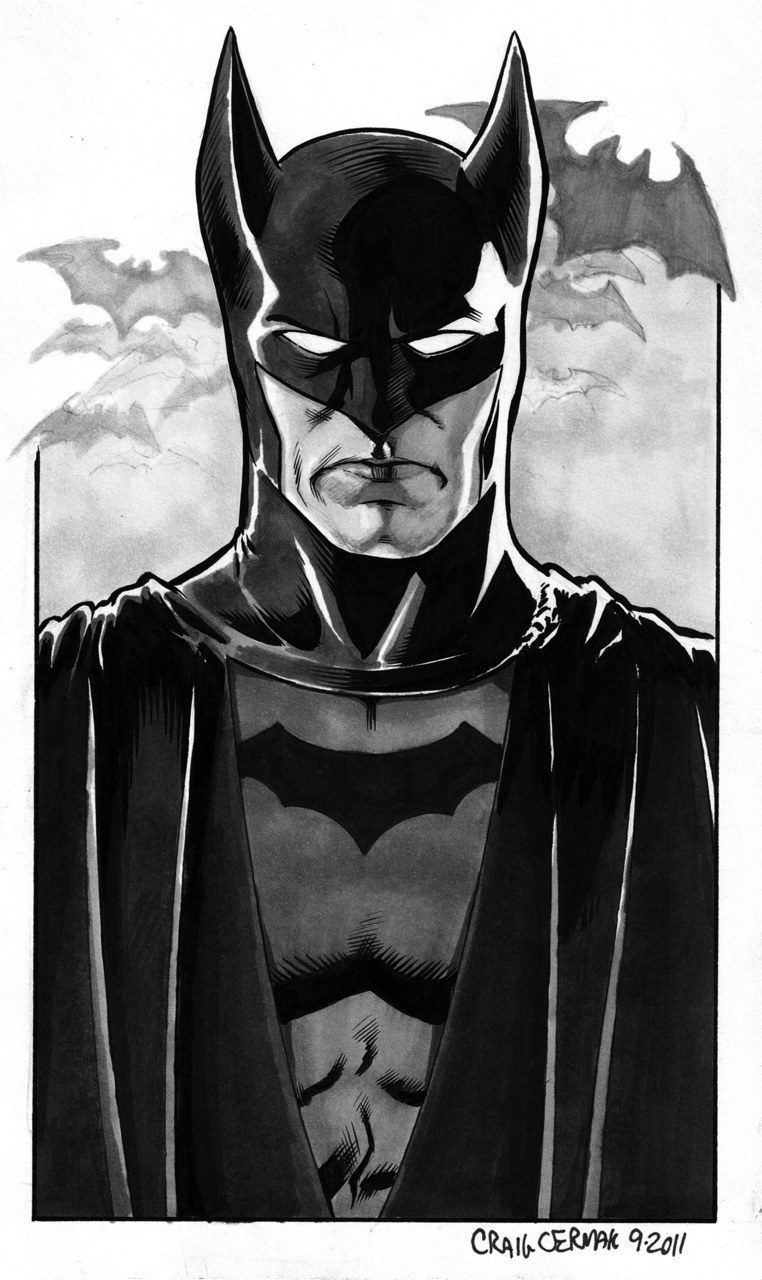 The original Golden Age Batman. Never drew the Bob Kane designed costume before so I thought it'd be fun as I've drawn my generic Batman a million times too many. Continued messing with the copic markers, trying out different mixtures between those and brush inking.