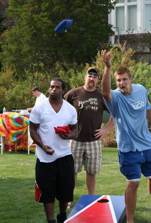 Cornhole with BenJarvus Green-Ellis, Logan Mankins & Rob Gronkowski. If Mankins lost this he's tarnished the image I have of him.