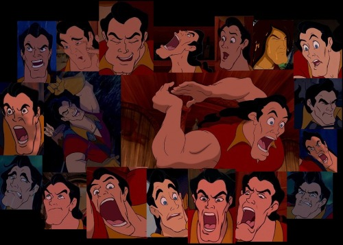 disneydesigns:  I couldn't resist. A collage of Gaston and all his derpy glory.