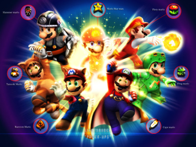 videogamenostalgia:  Mario-Power ups by ~xXLightsourceXx  wow…they look soooo much cooler in 3D