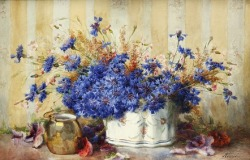 stilllifequickheart:  François Rivoire Still Life with Cornflowers 19th century