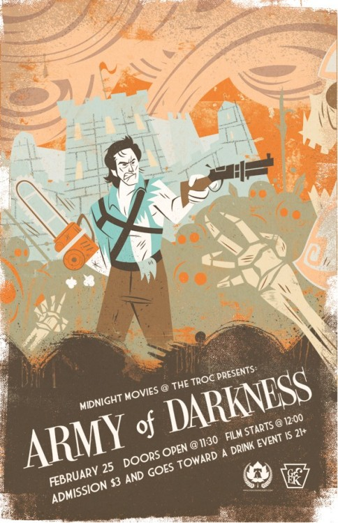 "#ArmyofDarkness by Bobby O'Herlihy xombiedirge:  Army of Darkness by Bobby O'Herlihy 11"" X 17"" Giclee print. S/N Edition of 30, Available HERE"