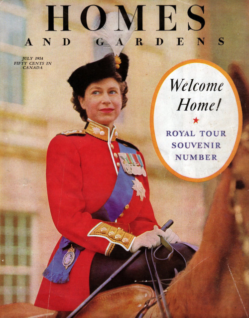 dtxmcclain:  Queen Elizabeth II on the cover of Homes And Gardens magazine, July 1954