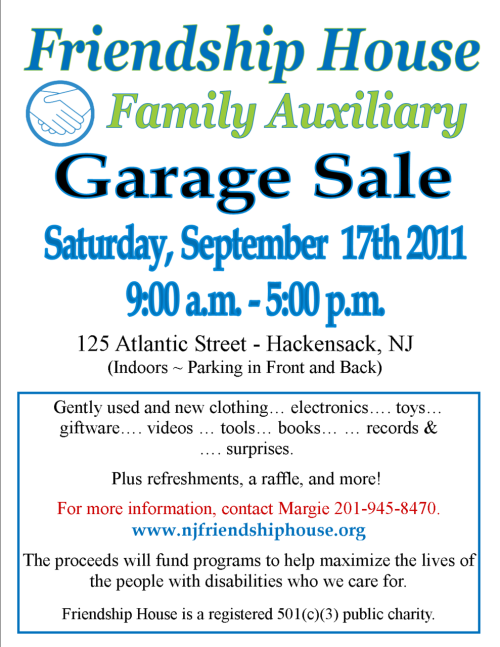 Come to our garage sale next week (September 17th) and help support Friendship House!