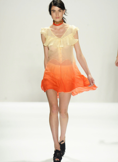 This dress reminds me of a summer sunset. I'm swooning.  hautekills:  Charlotte Ronson s/s 2012