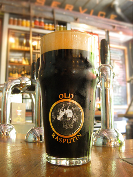 Old Rasputin Imperial Stout by North Coast Brewing, served up at Leon's Full Service in Decatur. I never thought I'd be a dark beer kind of girl, but I've had some fine stouts lately. At 9% ABV with enough bold flavor to knock your socks off, one good pour will be enough to make you warm and fuzzy.  Photo credit: Lush Lady