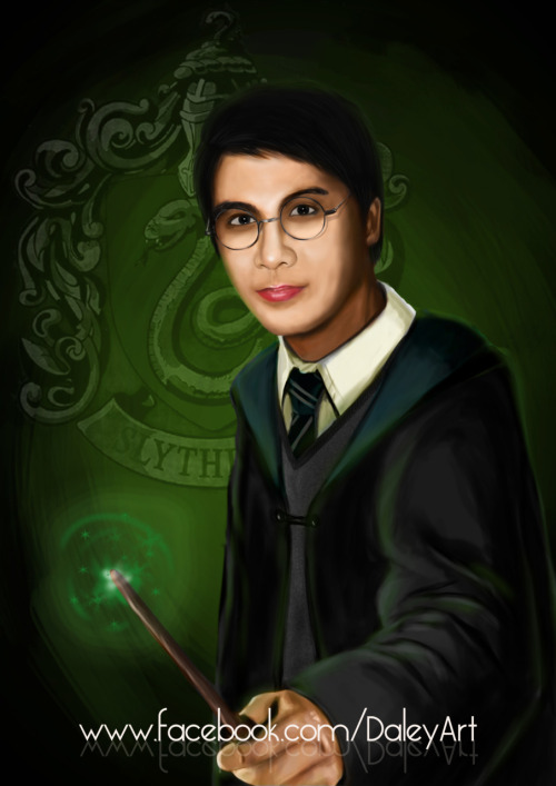 "Digital Painting: ""Slytherin Dale"" 09/11/2011 Adobe Photoshop CS5 Yesterday, I was so excited to see my Pottermore mail in my inbox. Finally, after weeks of waiting! I was sorted to the Slytherin house (Phew! I thought I'm gonna be in Hufflepuff..) Yey! Here's a digital painting of me wearing the Slytherin uniform.. :)"