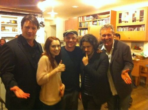 yourethevoice:  Anthony Head, with Nathan Fillion, Felicia Day, Simon Pegg, and Edgar Wright — at Joss Whedon's house. (via NF's twitter)