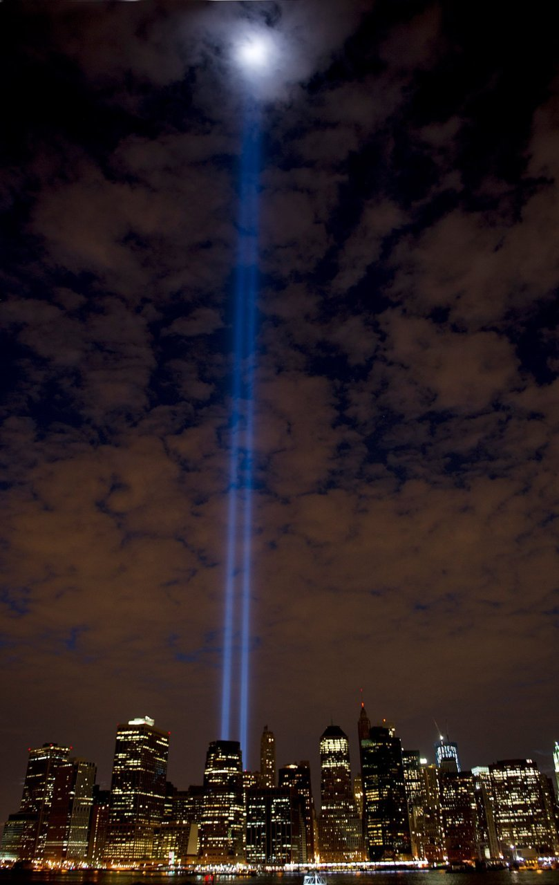 """The Tribute In Light""   A view of where the World Trade Center Twin Towers once stood their last night 10 years ago on Sept 10.   Photo and caption by Denise Truscello, September 10, 2011"