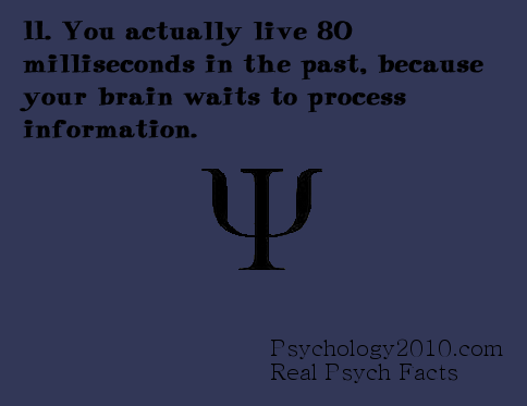 psychology2010:  The  mind is actually catching up on past information rather than predict what it will know. For instance, the eyes do not predict what they are about to see next on a television screen.  Source:    We Live In The Past, Salk Scientists Discover http://www.salk.edu/news/pressrelease_details.php?press_id=31