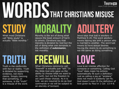 atheistsblog:  Words that christians misuse  Exactly!