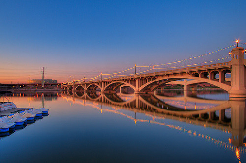 arizonadreaming:  Tempe.  I love the bridges over Tempe Town Lake / Salt River. It's all dammed up so the water is relatively calm and you can get great reflections like this.