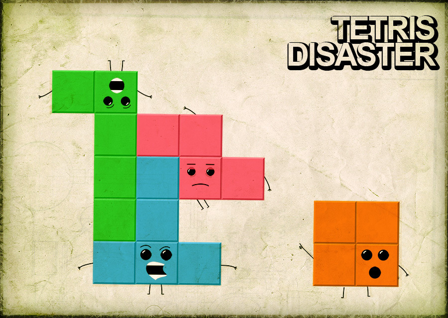 it8bit:  Tetris Disaster - by Alister Buss Website | Blog | Twitter   I may be wrong, but the blue Tetris block doesn't exist.