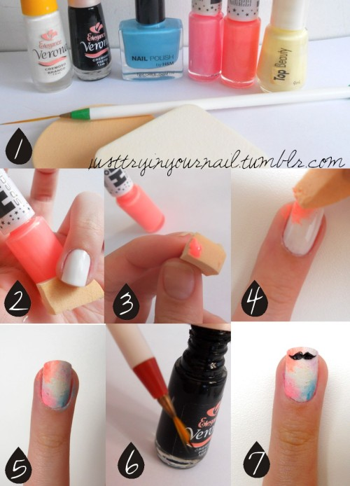 Moustache Nails Tutorial 1. Choose the colors you want in your nail background (gradient). You'll need a cosmetic or dish washing sponge and a fine brush. 2. Paint your nails white, let it dry and choose a color to start the gradient. 3. Paint directly the color on the sponge. 4. Quickly, press the sponge on nails with little knocks, creating the gradient effect. 5. Do the same process with other colors. 6. Get the brush and the black polish to draw the moustache. 7. Wait it dry and use a top coat! Your moustache nails are done! justtryinyournail