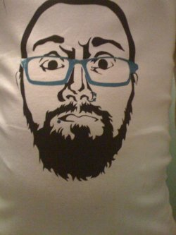 my face screen printed on a vest   Thanks for the submission!