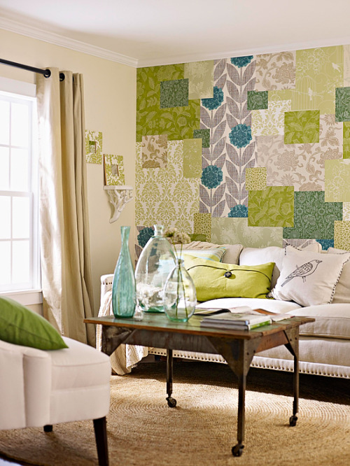 "Patchwork Wallpaper - how about using wallpaper for what it was made far: walls. Using some partial rolls paired with sections cut from a wallpaper book that was surely destined for the trash bin, create this super stylish patchwork statement and give a new definition to the ""accent wall""!!"