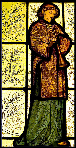 Stained glass panel by William Morris, an English artist. Located in Cliffe Castle, in Keighley, West Yorkshire. Late 19th century. Photo by Stephen Wilkinson.