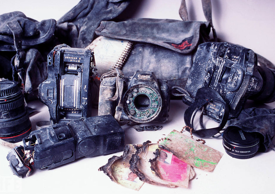This photo is of the discovered equipment of Bill Biggart, a photojournalist who lost his life on 9/11. LIFE: They Were There - 9/11 Photographers  Photo by Chip East