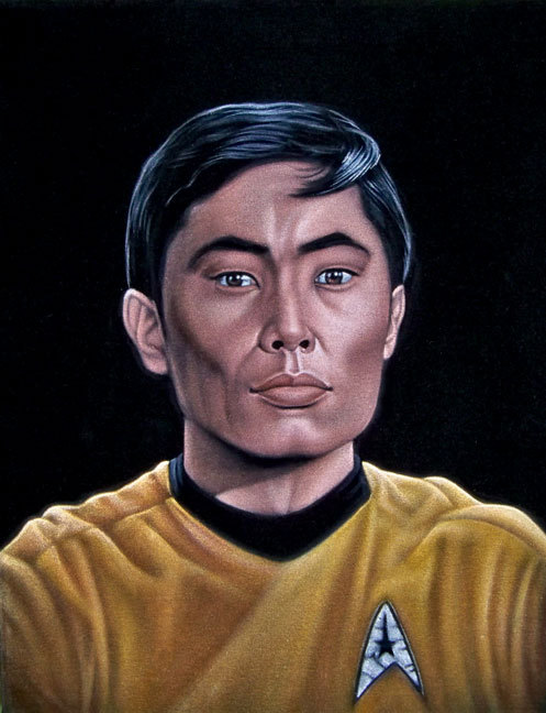 "velvetgeek:  Lt. Hikaru Sulu 14"" x 18"" acrylic on velvetreserved for a future solo show at Gallery1988 in LA"