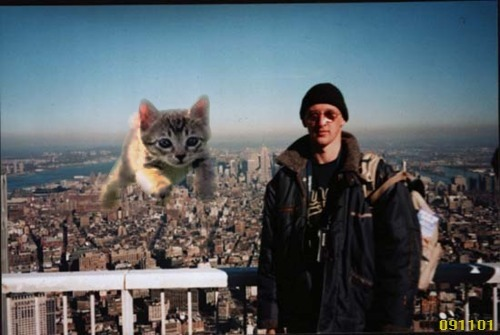 This image first appeared a few days after 9/11. The picture was found on a camera in the debris of the World Trade Center.