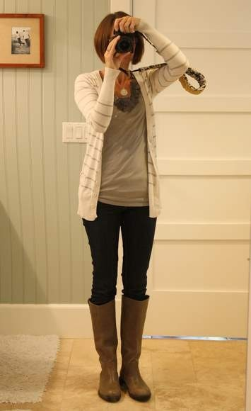 Awesome comfy cardigan :)…and she has a custom-made camera strap. Pretty awesome