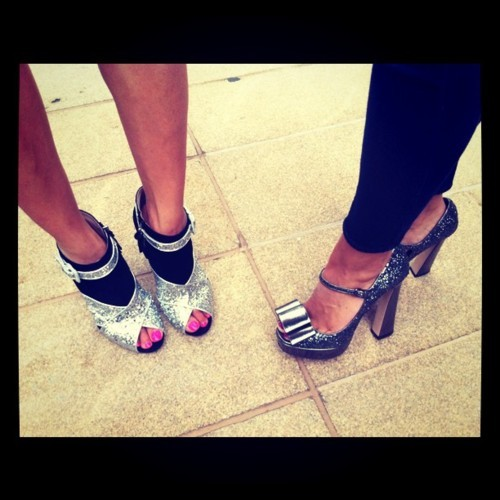 Glitter party! Eva Chen and Fashion Assistant Sarah Pillai's matching Miu Miu pumps. Photographed by Laurel Pantin.